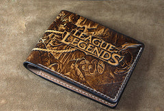 Handmade League of Legends LOL JINX carved leather custom short wallet for men gamers