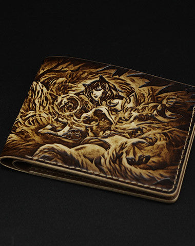 Handmade League of Legends LOL Ahri-the-Nine-Tailed-Fox carved leather custom short wallet for men gamers