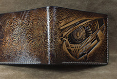 Handmade leather custom short wallet Transformers Decepticons carved for men