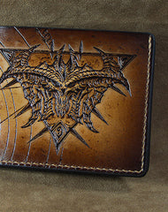 Handmade diablo3 diablo short wallet carved custom personalized leather for men