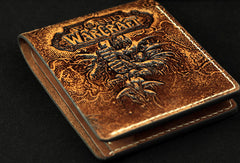 Handmade leather Small wallet custom WOW lich king Arthas carved leather billfold wallets for men