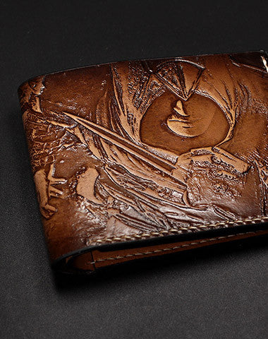 Handmade AC Assassin's Creed carved leather custom short wallet for men gamers