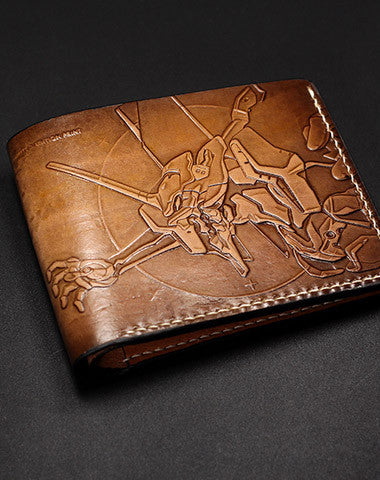 Handmade EVANGELION EVE carved leather custom short wallet for men gamers