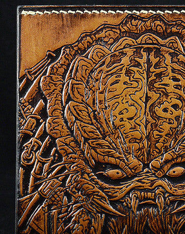 HANDMADE LEATHER WALLET PREDATOR CARVED LEATHER CUSTOM SHORT WALLET FOR MEN