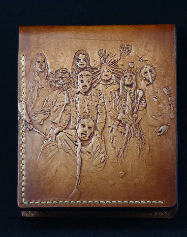 Handmade leather wallet custom Slipknot band carved leather billfold wallet for men