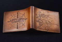 Handmade leather wallet custom Slipknot band carved leather short wallet for men