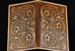 Handmad eleather men wallet floral carved leather custom long wallet w/card holders for men/women