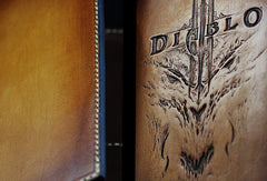 Handmade leather men wallet diablo3 carved leather custom long wallet w/card holders for men