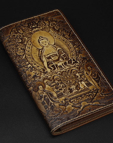 Handmade leather wallet Sakyamuni carved leather custom long wallet for men