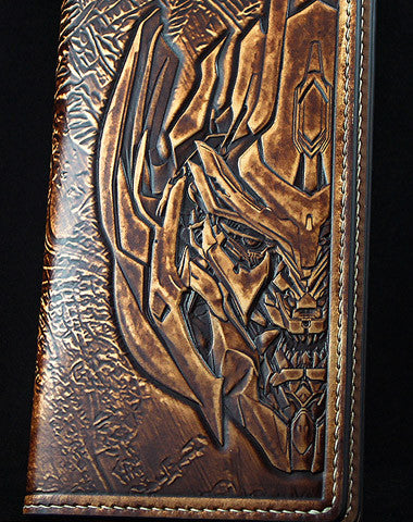 Handmade Transformers Decepticons Megatron carved leather long wallet for men gamer