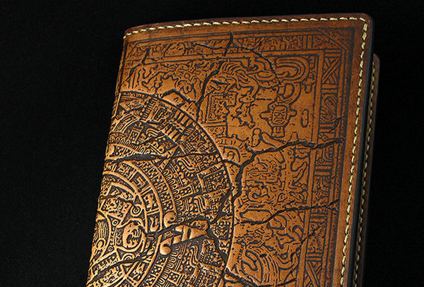 Handmade leather men wallet Mayan solar calendar carved leather custom long wallet for men
