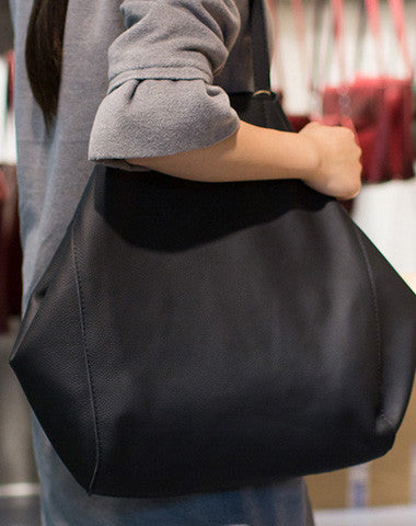 Handmade Leather vintage Big Large tote bag coffee black for women leather shoulder bag