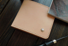 Handmade short leather wallet beige leather bifold biker wallet short wallet purse for men