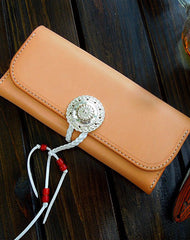 Handmade wallet leather long natural leather Long clutch wallet for women