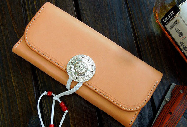Handmade wallet leather long natural leather Long wallet purse clutch for men/women