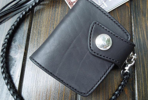 Handmade biker wallet trucker short chain leather trifold black leather short wallet for men