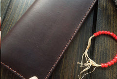 Handmade men wallet Liver bifold natural leather Long wallet purse clutch for men