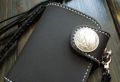 Handmade biker chain wallet black leather short trucker wallet chain small wallet