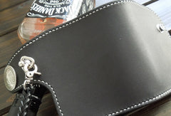 Handmade biker chain wallet black leather billfold trucker wallet chain small wallet