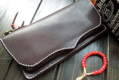 Handmade leather mens wallet bifold leather Long clutch wallet for men