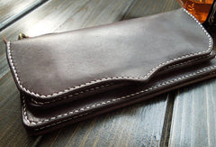 Handmade leather men wallet Liver bifold leather Long wallet purse clutch for men