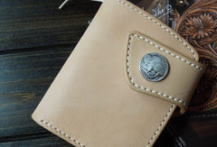 Handmade biker wallet leather biker wallet chain bifold beige billfold wallet for men