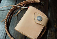 Handmade biker wallet leather biker wallet chain bifold beige short wallet for men