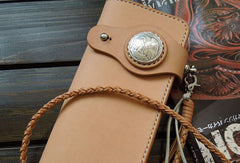 Handmade biker wallet chain leather bifold trucker wallet purse Long wallet for men