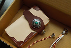 Handmade leather biker wallet chain bifold brown short wallet purse trucker wallet for men