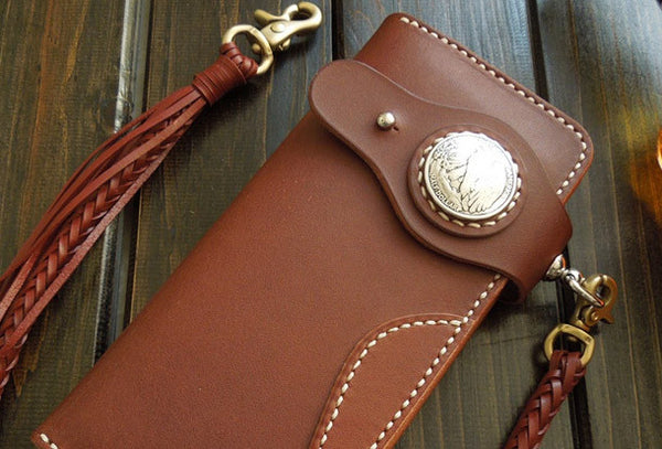 Handmade leather coffee biker wallet chain bifold Long wallet purse clutch for men