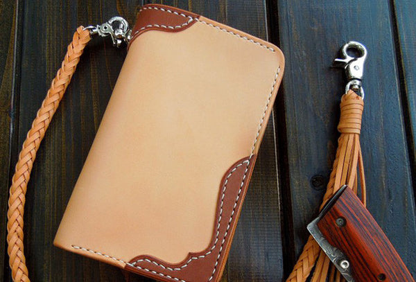Handmade biker wallet chain beige leather bifold biker wallet short wallet purse for men