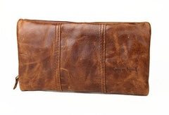 Handmade Vintage Bifold Coffee Leather Long wallet clutch bag For Men Zipper holder