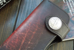 Handmade biker wallet black leather punk long trucker wallet chain bifold long wallet for men