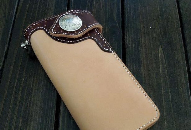 Handmade biker wallet beige coffee leather biker wallet chain bifold Long wallet for men