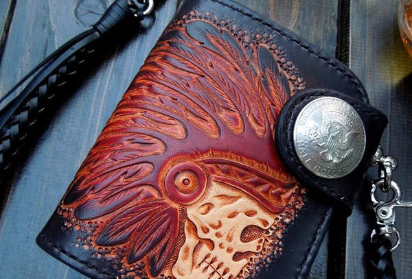 Handmade biker wallet leather carved black skull short biker wallet bifold purse for men