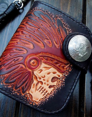 [ On Sale ] Handmade Leather short Biker Wallet Tooled black skull biker wallet Small Wallet for men