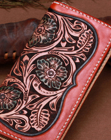 Handmade leather brown floral wallet leather men women clutch Tooled wallet