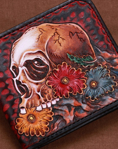 Handmade skull short leather wallet men tooled carved short wallet for him