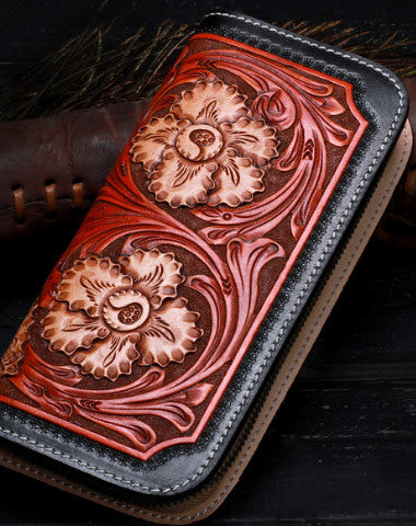Handmade leather black floral wallet leather zip women clutch Tooled wallet
