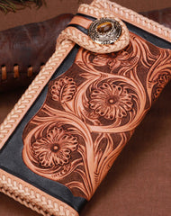Handmade leather biker trucker beige black floral wallet leather chain men Black Tooled wallet