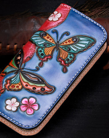 Handmade leather blue butterfly wallet leather zip women clutch Tooled wallet