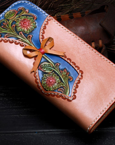 Handmade leather blue beige flowers wallet leather zip women clutch Tooled wallet