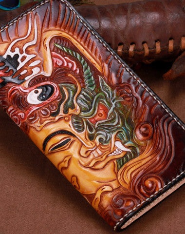 Handmade leather Brown Long Buddha devil wallet leather men clutch Tooled wallet