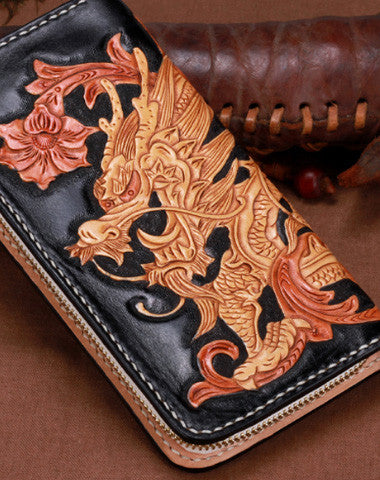 Handmade leather Black Chinese Dragon wallet leather men women clutch Tooled wallet