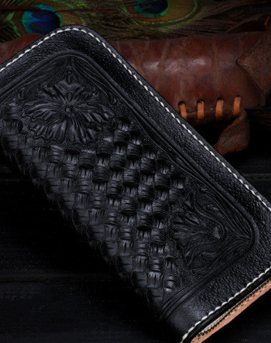 Handmade leather Black floral wallet leather men women clutch Tooled wallet