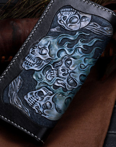 Handmade leather skull long biker trucker  wallet leather chain men Black Tooled wallet