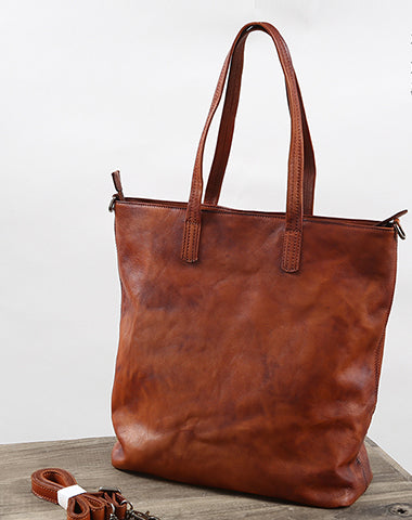 Handmade Womens Brown Leather Tote Bag Vintage Shoulder bag Shopper Bag for women