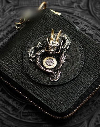 Handmade Leather Chinese Dragon Tooled Mens billfold Wallet Cool Chain Wallets Biker Wallet for Men