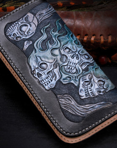 HANDMADE LEATHER LONG BLACK SKULL WALLET LEATHER ZIP MEN CLUTCH TOOLED WALLET