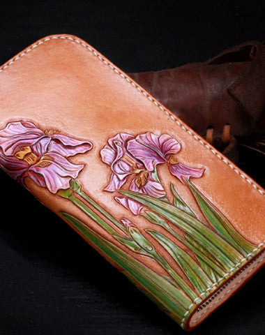 Handmade leather Brown orchid flower wallet leather zip women clutch Tooled wallet
